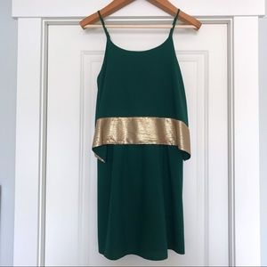 Esley | Green and Gold Cocktail Dress